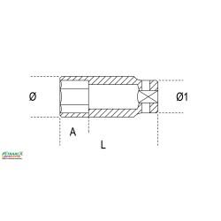 """Chiavi a bussola con attacco quadro femmina 3/4 """"bocca esagonale serie lunga da 19 millimetri a 41 millimetri"""